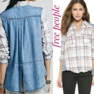 Free people flannel chambray shirt